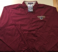 Men's Long Sleeve POMARC Dress Shirt in Burgundy