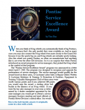 Pontiac Service Excellence Award